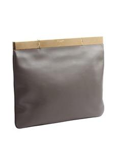 Saint Laurent earth tone leather gold accent large clutch