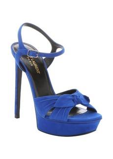 Saint Laurent electric blue suede bow strap 'Bianca' platform sandals