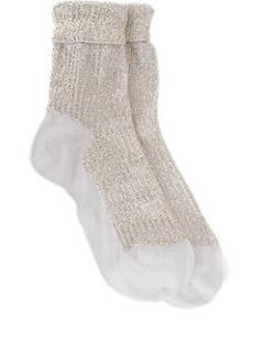 Saint Laurent Embellished Foldover Ankle Socks