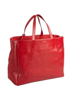 Saint Laurent fire engine red leather oversized large tote with pouchette