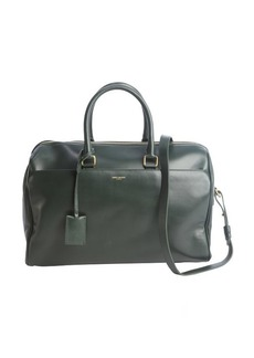 Saint Laurent forest green leather convertible top handle duffle bag
