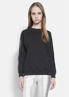 Saint Laurent French Terry Crewneck Sweatshirt with Leather Trim
