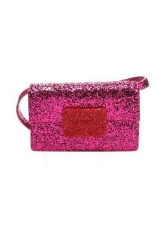 Saint Laurent fuschia and red glitter 'Lulu Bunny' small shoulder bag