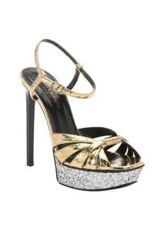 Saint Laurent gold elaphe snakeskin platform stiletto sandals