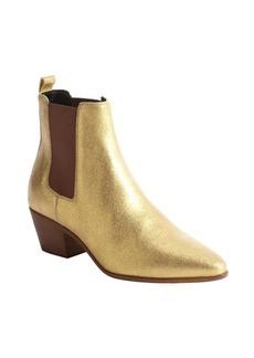 Saint Laurent gold glitter leather chelsea boots
