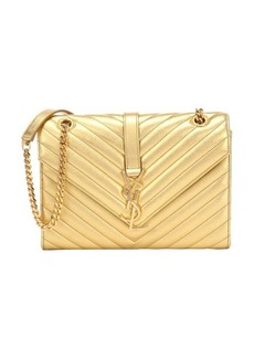 Saint Laurent gold matelassé leather medium monogram shoulder bag