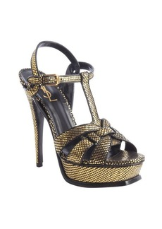Saint Laurent gold snake embossed metallic leather 'Wolf' t-strap platform sandals