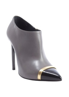 Saint Laurent grey and black colorblock leather ankle booties