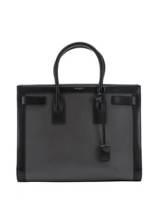 Saint Laurent grey and black leather medium 'Sac De Jour' tote bag
