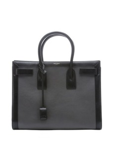 Saint Laurent grey and black leather 'Sac De Jour' large top handle tote