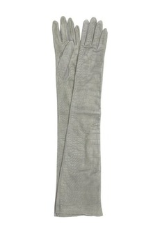 Saint Laurent grey croc embossed leather long gloves