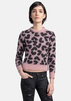 Saint Laurent Heart Print Fuzzy Pullover