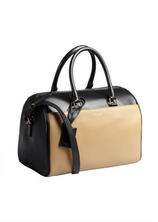 Saint Laurent khaki and black colorblock leather small duffel bag
