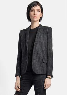 Saint Laurent Leather Elbow Patch Houndstooth Tweed Blazer