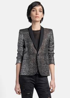 Saint Laurent Leopard Pattern Lamé Tuxedo Blazer