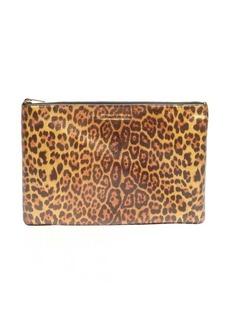 Saint Laurent leopard printed leather logo clutch