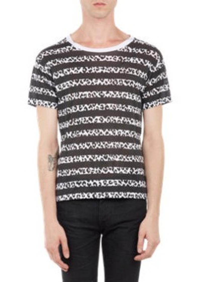 Yves saint laurent saint laurent leopard stripe t shirt for Yves saint laurent white t shirt