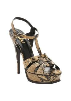 Saint Laurent light brown snake embossed leather 'Tribute' t-strap sandals