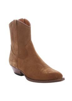Saint Laurent light brown suede 'Santiag 40' cowboy ankle booties