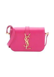 Saint Laurent lipstick fuschia leather 'YSL' logo mini crossbody bag