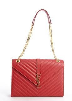 Saint Laurent lipstick red quilted leather 'SL' monogram shoulder bag