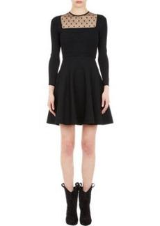 Saint Laurent Mesh-Inset Fit-and-Flare Dress
