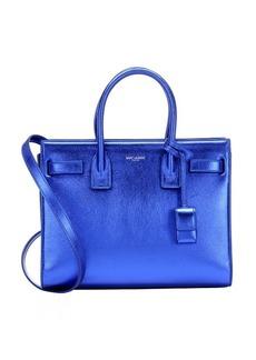 Saint Laurent metallic blue leather convertible mini tote
