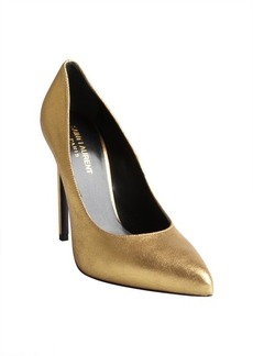 Saint Laurent metallic gold textured leather pointed toe pumps