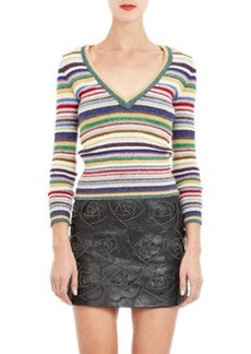 Saint Laurent Metallic Multi-Stripe V-neck Sweater
