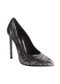 Saint Laurent metallic silver textured leather pointed toe pumps