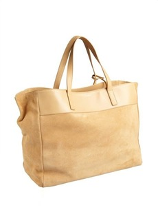 Saint Laurent natural suede oversized large tote with pouchette