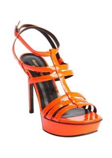 Saint Laurent neon orange patent leather 'Vitello Vernice' strappy sandals