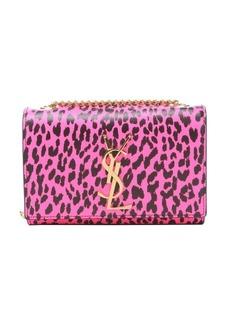 Saint Laurent neon pink and black leopard print leather 'YSL' shoulder bag