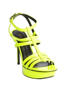 Saint Laurent neon yellow patent leather 'Vitello Vernice' strappy sandals