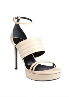 Saint Laurent nude leather seamed ankle strapped platform sandals