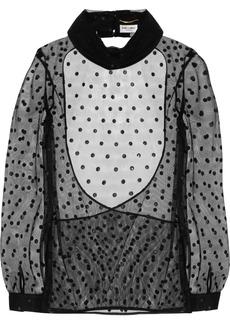Saint Laurent Open-back polka-dot mesh top
