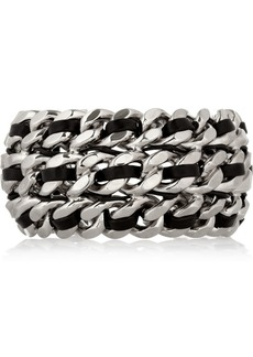 Saint Laurent Palladium-tone and leather chain cuff