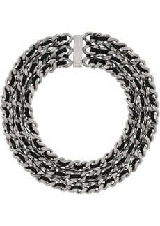 Saint Laurent Palladium-tone and leather chain necklace