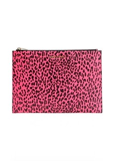 Saint Laurent pink and black babycat printed leather cosmetic case