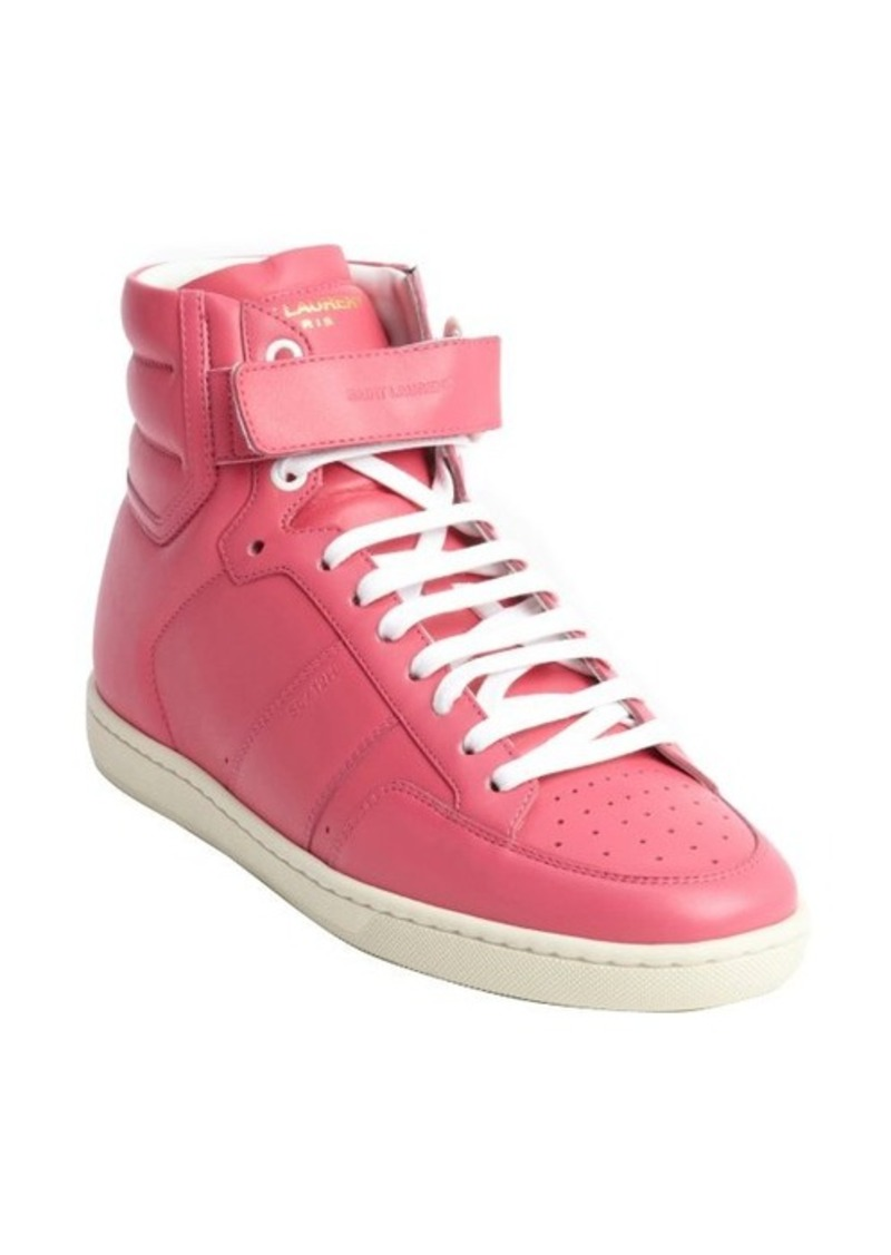 yves saint laurent saint laurent pink leather high top sneakers shoes shop it to me. Black Bedroom Furniture Sets. Home Design Ideas