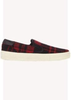 Saint Laurent Plaid Tweed Skate Slip-On Sneakers