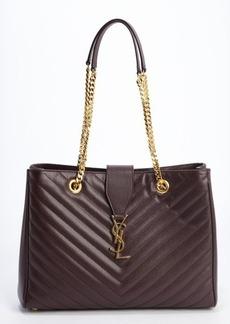 Saint Laurent plum leather logo buckle detail shoulder bag