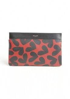Saint Laurent red and black leather heart printed clutch