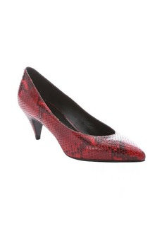 Saint Laurent red and black python print leather 'Kitten 50' pumps