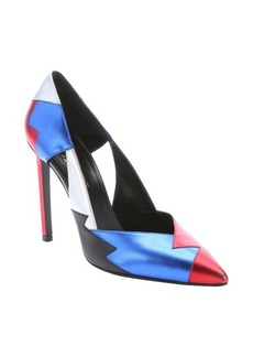Saint Laurent red and blue metallic leather siltetto pumps