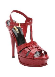 Saint Laurent red croc embossed leather 'Tribute' t-strap sandals
