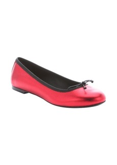 Saint Laurent red leather bow detail ballerina flats