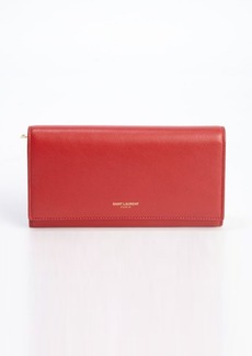 Saint Laurent red leather snap closure continental wallet