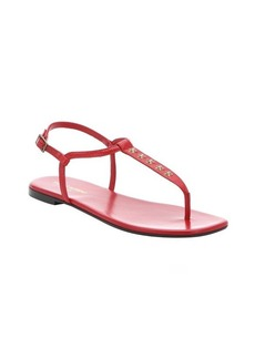 Saint Laurent red leather star studded toe thong slingback sandals