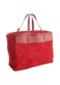 Saint Laurent red suede studded large shopper tote